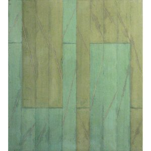 2005-2008, Zwei Grün, Aquarell gewachst auf Hartfaser, 90 x 70 x 5 cm