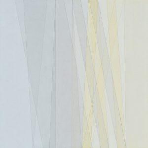 2015 Aquarell und LAck auf Hartfaser, Gelb-Grau, 90 x 90 cm